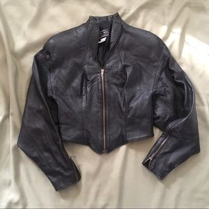 Tannery West Cropped Black Leather Jacket Small